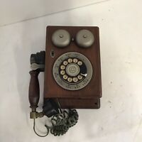 Wood Phone Brass Bell AT&T Dialing Telephone Circle Wall Dialing Vintage
