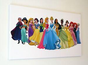 DISNEY  FROZEN PRINCESSES CANVAS PRINT WALL ART  PICTURE 18 X 32 INCH