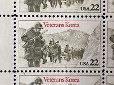 Vintage 1985 USPS Block of 20 Veterans Korea Stamps Scott 2152 Mr Zip 22c MNH