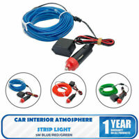 5M LED Car Interior Atmosphere Glow Wire Neon Strip Light Rope Tube Lamp Charger