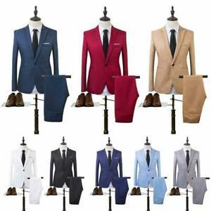 Men Blazer 2pcs Pants Business Suit Dress Coat Formal One Button Slim Jackets