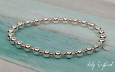 Sterling Silver & Rose Gold Beaded Stretch Stack Bracelet