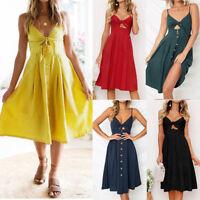 Women Holiday Strappy Button Pocket Ladies Summer Beach Midi Swing Sun Dress Hot