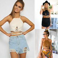 Ladies Sexy Lace Up Strappy Sleeveless Crop Top Suede Vest Bralet Bra Cami Tank