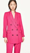 Zara New Hot Pink  Double Breasted Blazer Suit Jacket Size S 8/10 Genuine Zara