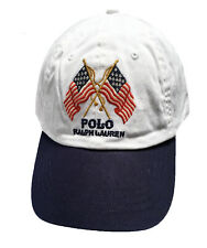34a433136344 Polo Ralph Lauren Cross Flags Logo Leather Strap Ball Cap Hat RARE