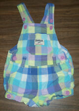 Oshkosh Plaid Bib Overall Shorts Girls size 12 Months Vestbak Romper Shortalls