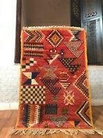 "Vintage Moroccan Taznakht Rug handmade 2'3""x3'5"" Geometric Multicolor Berber Rug"