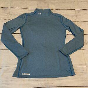 Under Armour Shirt ColdGear Fitted Size XL Long Sleeve Running Mock Shirt Blue