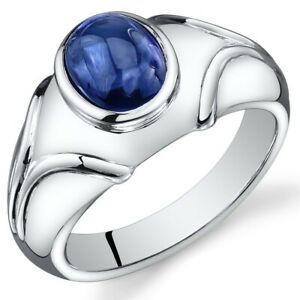 Mens 3.5 cts Oval Cabochon Sapphire Sterling Silver Ring Sizes 8 To 13