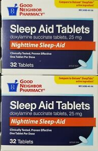 Doxylamine Succinate Sleep Aid 25 mg Each 32 Tablets -2 Pack -Exp Date 07-2023