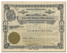 Carter Gold Mining & Milling Company Stock Certificate