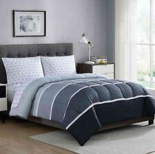 "4 Pc Ellison ""NEWPORT GRAY"" Reversible 2-Looks Bed-In-A-Bag ~ Twin 66 W x 86 L"