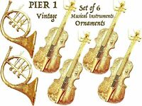 Pier 1 Musical Instruments 6 Christmas Tree Ornaments Lot Holiday Decoration Vtg