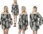 Ladies Long Bell Sleeve Geometric Animal Floral Off the Shoulder Top 12-16