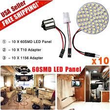 10X Panel 60-SMD 1156 BA15S T10 Adapter White RV Trailer Camper Interior Light
