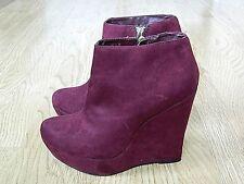 Atmosphere Ladies Platform Wedge Ankle Boots Burgundy Suede Size 7 / 41