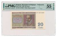 BELGIUM banknote 20 Francs 1950 PMG MS 55 About Uncirculated