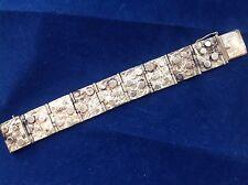 Brutalist Sterling Silver Bracelet Block Links Applied Circles Dots Hand Crafted