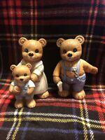Bear Family Figurines Homco Home Interior  #1450 Mom FatherChild with Football