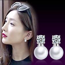 New Womens 925 Sterling Silver Freshwater Pearl Zircon Crystal Ear Stud Earrings