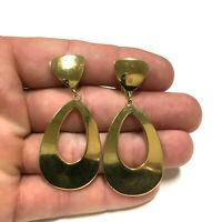 Vintage MONET Gold Plated Oval Teardrop Dangle Clip Earrings XX170E