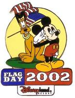 Disney DLR Pluto and Mickey Mouse Flag Day Pin