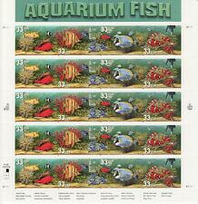 AQUARIUM FISH STAMP SHEET -- USA #3317-#3320 33 CENT 1999