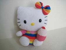 "5"" TY Sanrio HELLO KITTY W/ CAKE RAINBOW COLORFUL Plush Stuffed Animal"