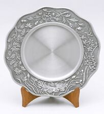 Pewter Serving Plate, Cold Food Pewter Plate, Floral Motif Pewter Dinner Plate