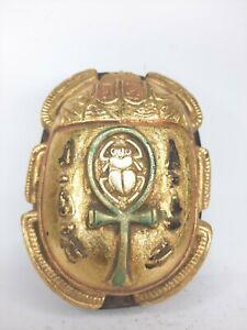 ANCIENT EGYPTIAN ANTIQUE STONE Gold Figurine Scarab Key of Life Magic Hiroglyphi