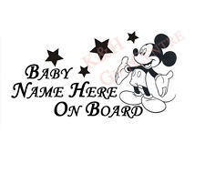 Baby on Board Car Windshiled Vinyl Decal Mickey with Personalized Name