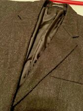 SAVILE ROW SR Mens Sports Coat blazer BLACK CHARCOAL HERRINGBONE size 44R WOOL
