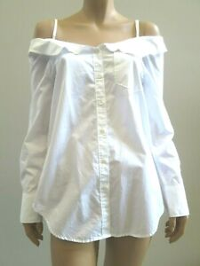 COUNTRY ROAD White Off Shoulder Collar Long Sleeve Shirt sz XS 8 FREE POST .F7