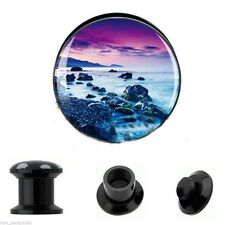 PAIR-Coastal Scenery Acrylic Screw On Stash Ear Plugs 06mm/2 Gauge Body Jewelry