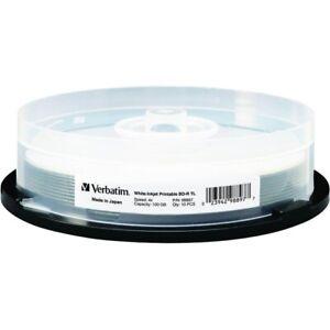 VERBATIM 4X Blu-Ray BD-R XL 100GB TL White Inkjet Printable 10 pk Spindle 98897