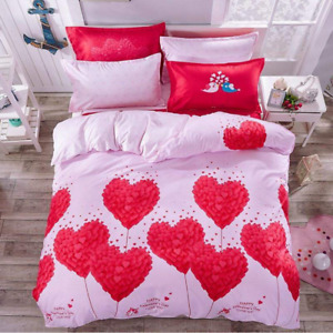 Red Hearts Print Valentine's Bedding Set Duvet Quilt Cover+Sheet+Pillow Case HOT