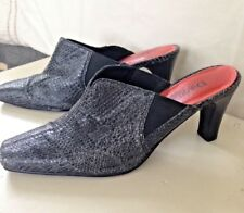 DIEGO di LUCCA Crocodille Leather High Heel Mule Black/Dark Gray -  Size 6