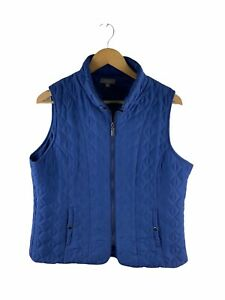 Katies Full Zip Quilted Vest Womens Size 16 Blue Sleeveless Snap Button Pockets
