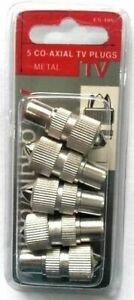 5 Pack CoAxial TV Plugs Co-Axial-Sockets Metal Audio Video TV - W177