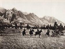 1925 Vintage CANADA Snaring Valley Jasper Park Alberta Horses Mountain Landscape