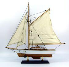 Wooden model sloop traditional cruising yacht, model boat 39cm, nautical