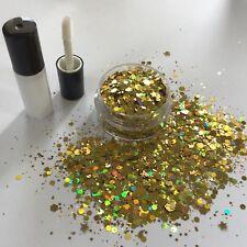 Festival cara/cuerpo/pelo KIT-4ml Pegamento + mezcla de Brillo Holográfico Estrella de Oro 10g Olla