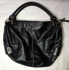 PUNTOTRES polished textured black hobo large tote bag genuine leather Spain