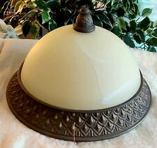 Flush Mounted Dome Nipple Ceiling Light Fixture Alabaster Old Bronze Finish