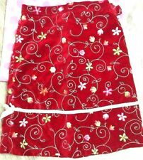 Childrens Place Girls Skirt sz 10 Red Floral Velvet Holiday Occasion Party TT43
