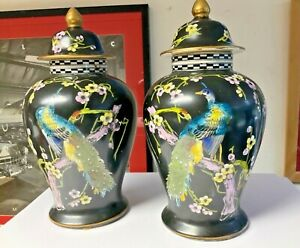 """Vintage T Forester Phoenix Ware 13.5"""" tall Peacock/Rising Sun Matching urn vase"""