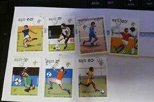 7 Cambodia football theme postage stamps postal philately philatelic