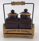 Vintage Set Two Ceramic kitchen Storages Jars With Wooden Carrier