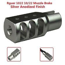 Slip On Set Screw Tightened Ruger 10/22 1022 Muzzle Brake Tanker Style Al Silver